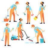 Cleaning staff in different positions. Vector illustration Royalty Free Stock Photo