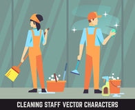 Cleaning staff vector characters woman and man with tools Royalty Free Stock Photos