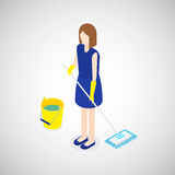 Cleaning staff. Woman cleaning the floor. Vector Illustration Stock Photography