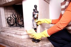 Cleaning the statue. Royalty Free Stock Photos