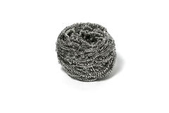 Cleaning steel wire wool scrub scourer metal on white background Royalty Free Stock Photos