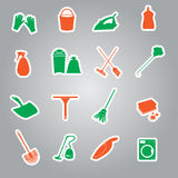 Cleaning stickers set eps10 Stock Photo