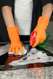 Cleaning a stove Stock Photos