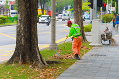 Cleaning street in Singapore Royalty Free Stock Photography