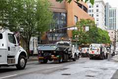 Cleaning streets after parade Royalty Free Stock Photography