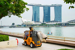 Cleaning streets of Singapore Stock Photos