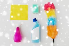 Cleaning stuff on white background Royalty Free Stock Photo