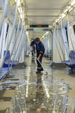 Cleaning subway wagon Stock Images
