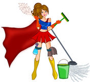 Cleaning super woman. Woman with cleaning stuff in superhero warrior style  illustration Stock Images