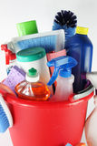 Cleaning Supplies. In a bucket royalty free stock image