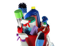 Cleaning Supplies. In a bucket stock photos