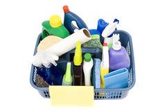 Cleaning Supplies. A full bucket of cleaning supplies. The daily grind Stock Image