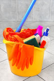 Cleaning supplies. Bucket full of cleaning supplies stock photos