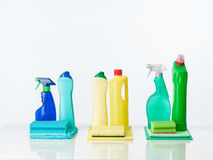 Cleaning supplies arranged by color Royalty Free Stock Images
