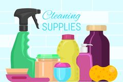 Cleaning supplies banner vector illustration. Plastic containers bottles, tubes and jars for cream, body lotion, shampoo. And soap, milk and gel. Household stock illustration