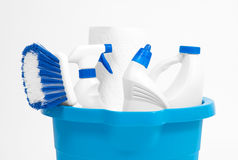 Cleaning supplies in blue bucket Royalty Free Stock Photos
