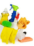 Cleaning supplies in a box Royalty Free Stock Photography