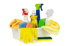 Cleaning supplies in a box, isolated on white stock images