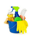 Cleaning supplies in a bucket Royalty Free Stock Photography