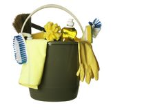 Cleaning supplies bucket isolated Stock Photo