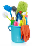 Cleaning supplies in bucket Stock Image