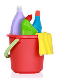 Cleaning supplies in bucket Stock Photos