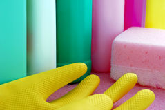 Cleaning supplies color Stock Photos