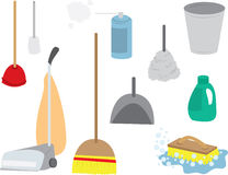Cleaning Supplies Continued. Various cleaning supplies including a vacuum, duster, broom, soap, garbage can, brush Royalty Free Stock Images