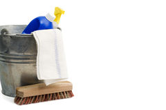 Cleaning supplies with copy space Stock Photo