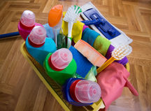Cleaning supplies and equipment on floor Stock Images