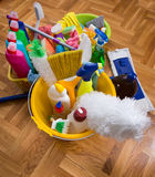 Cleaning supplies and equipment on floor royalty free stock photography