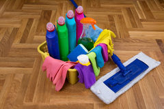 Cleaning supplies and equipment on floor Stock Photography