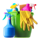 Cleaning supplies in a green bucket Royalty Free Stock Photography