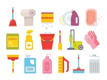 Cleaning supplies. Home clean tools. Brush, bucket window wipes and chemicals tool vector isolated set stock illustration