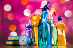 Cleaning supplies,home work colorful theme Stock Images