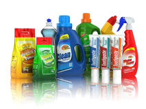 Cleaning supplies. Household chemical detergent bottles. Royalty Free Stock Image