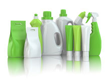 Cleaning supplies. Household chemical detergent bottles Royalty Free Stock Images