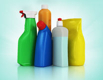 Cleaning supplies. Household chemical detergent bottles Royalty Free Stock Photo