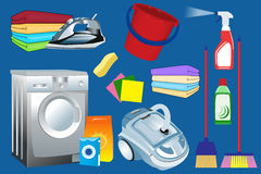 Cleaning supplies and household equipment tools, laundry service Royalty Free Stock Image