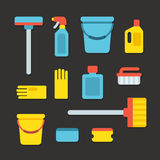 Cleaning supplies. Icons in flat cartoon style. Vector illustration Stock Image