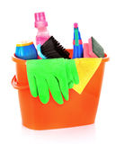 Cleaning supplies isolated Stock Photo