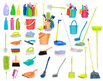 Cleaning Supplies Isolated On White Background Stock Photos