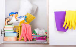 Cleaning supplies in pantry Royalty Free Stock Images