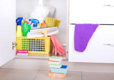 Cleaning supplies in pantry royalty free stock photo