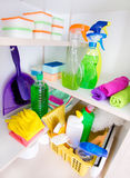 Cleaning supplies in pantry Royalty Free Stock Photos