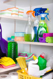 Cleaning supplies in pantry Stock Photo