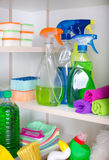 Cleaning supplies in pantry Stock Images