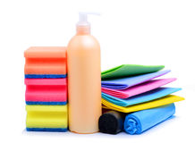 Cleaning supplies, paper napkins, gel and trash bags Royalty Free Stock Photo