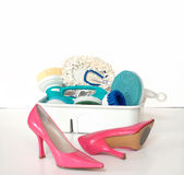 Cleaning Supplies and Pink Hig royalty free stock photography