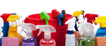 Cleaning supplies in a red bucket on white Royalty Free Stock Photography